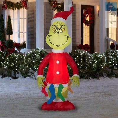 6.5 Ft GRINCH WITH STOCKINGS Airblown Lighted Yard Inflatable