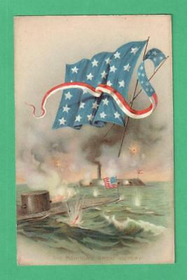 1908 Patriotic Civil War Postcard The Monitor's Great Victory Sea Battle Flags