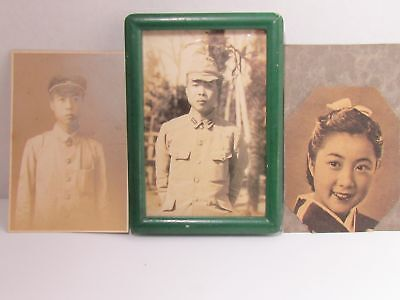 WW2 JAPANESE ARMY SOLDIER PHOTOGRAPH sweetheart medal badge WWII CAP RANK SWORD