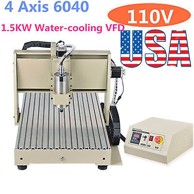 4 Axis 6040 1.5KW CNC Router Engraver Engraving Drilling Carving Machine Desktop