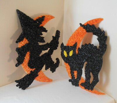 HALLOWEEN DECORATIONS~indoor-outdoor BLACK Cat-Witch-Moon melted plastic popcorn