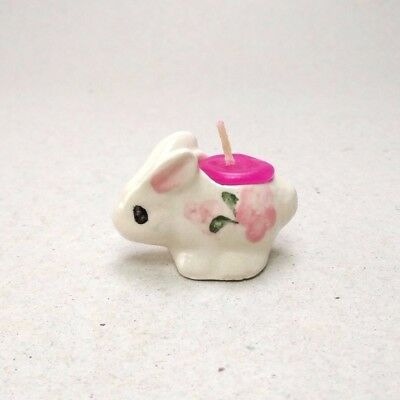 Dollhouse miniature candle pink rabbit ceramic party fragrance craft spa gifts