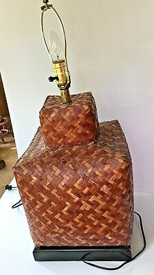 "Antique Large Woven Lidded Rice Storage Box Basket Lamp 29"" Tall Chinese"
