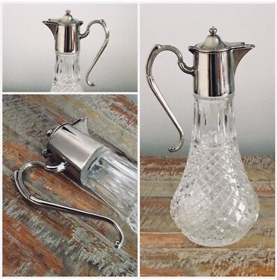 Antique Vintage Cut Glass Silver Decanter Whisky Water Carafe Claret Wine Jug