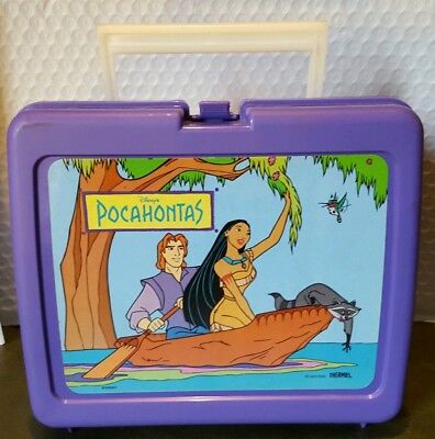 New Disney Pocahontas Plastic Lunchbox With Thermos - Mfg in USA 1990