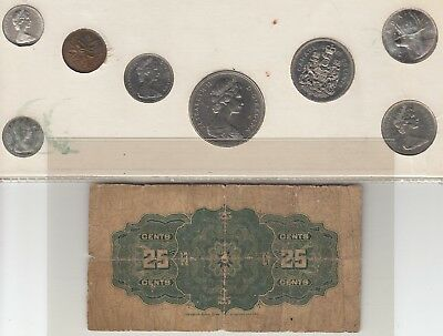 1900 Dominion Of Canada 25 Cents Bank Notes & 1968 Year Set