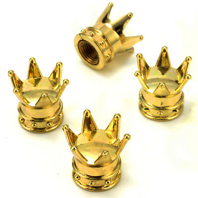 4x Universal Crown Motocycle Car Tire Air Valve Stems Cover Caps Wheel Rims Gold