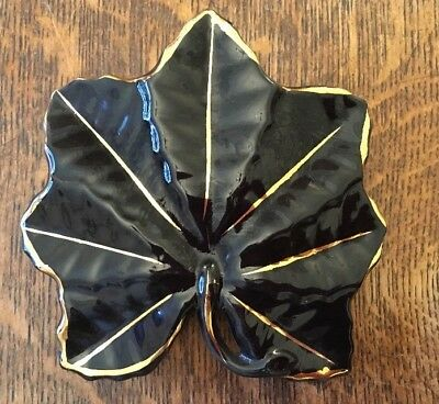 Black & Gold Leaf Wall Pocket Vase -22kt Gold Trim- 12cm X 12cm