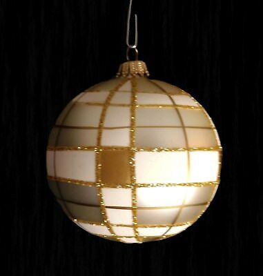 Krebs Glas Lauscha gold white glass glitter ball Christmas ornament Germany 3""