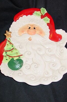 Fitz & Floyd Merry Christmas Santa Claus Canape Plate Figural