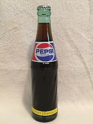 FULL 10oz PEPSI-COLA ACL ICE BLUE SODA BOTTLE FROM DOMINICAN REPUBLIC