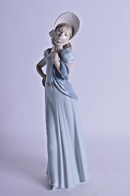 large nao by lladro porcelain figurine figure of standing female in blue dress