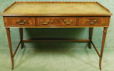 Mahogany Leather Top Writing Table- Desk In The Regency Style / Siesta Furniture