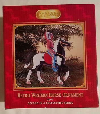 Breyer Retro Western Horse Ornament, 2007, MIB, Chief and Pinto Horse