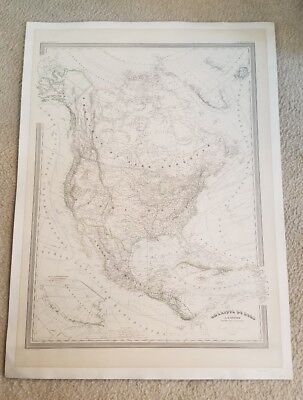 "19th Century Hand Colored Large Map Of North America 33"" x 24"""