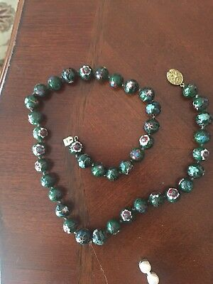 "Beautiful ! Vintage Chinese Cloisonné Green Beaded Necklace 21"" Long"