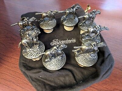 8 Blanton's Bourbon Horse Cork Stoppers Complete Set Blantons Plus Bag.