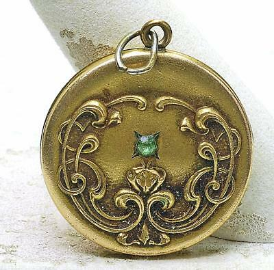 Antique Victorian F & B Repousee Gold Plated Ladies Locket Ca. 1890 Green Stone