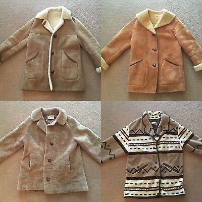 Joblot Vintage Sheepskin Tan And Patterned Coat/jackets