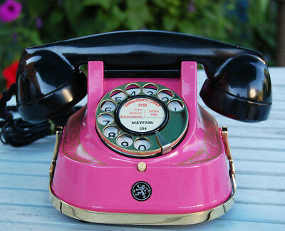 BELGIUM BAKELITE AND METAL DESK TELEPHONE, RESTORED AND FINISHED IN vibrant pink
