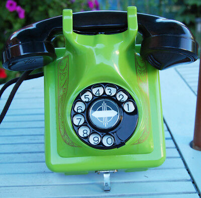 Belgium Bakelite And Metal Wall Telephone, Restored And Finished In Lime Green