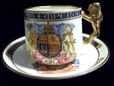 1937 Paragon China  Coronation King Edward VIII Cup & Saucer , Gold Lion Handle