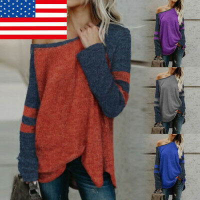 US Fashion Womens Sweaters Long Sleeve Sexy Tops Autumn Knit Pullovers Coat GIFT