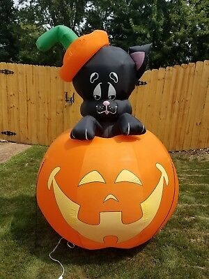 Inflatable Jack O Lantern Pumpkin 7 Ft with Cat Halloween Large Yard Decor