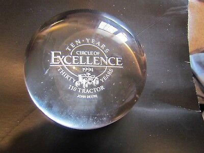 John Deere 110 Lawn Garden Tractor Glass Paperweight Circle of Excellence 1994