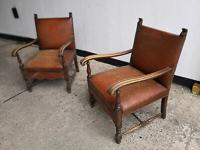 VINTAGE 2 x ART DECO SESSEL PAAR CLUBSESSEL ANTIK LEDERSESSEL EASY CHAIR 40er