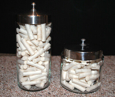 Vintage Dental Lot Of Two Glass Containers With Stainless Steel Tops Glasco Prof