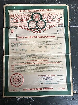 1914 Bulldog Lightning Rods Toledo Cable Co. Sale Guarantee Ephemera