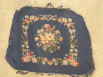 Antique Needlepoint Petit Point Wool Silk Panel Floral Flowers Motif 20x24""