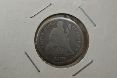 1876 CC Carson City US Seated Liberty 10c, 90% Silver Dime.