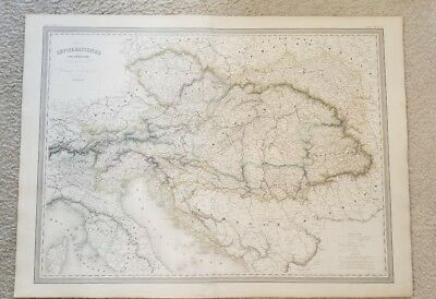 "19th Century C1860 Map All of Europe 33""X24"" Thick Paper Hand Colored"