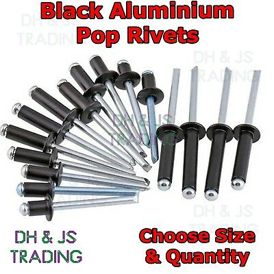"Black Aluminium Pop Rivets - 3.2mm 4.0mm 4.8mm (1/8"" 5/32"" 3/16"") Pop Rivet Riv"