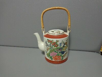 "Mid Century JAPANESE SATSUMA TEA POT FLOWERS AND PEACOCKS 5-1/4"" Tall"