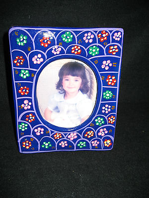 Picture Frame Beautiful Hand Painted Flowers Indigenous Mexican Pottery Art
