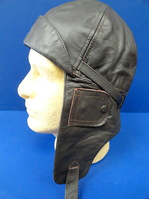 Royal Flying Corps Leather Flying Helmet W/brow