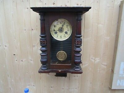 Vintage Wall Clock German?  Chimes Hour And Half Hour For Restoration
