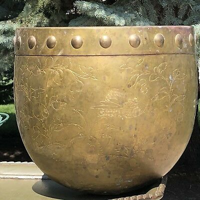 Copper Kettle Cauldron Pot Planter Antique Extra Large Incised Birds Chinese?