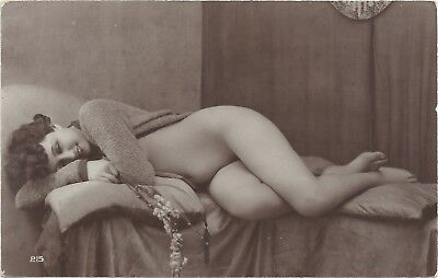 Rare original old French real photo postcard Art Deco nude study 1920s RPPC #146