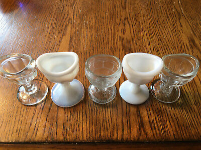 Lot of 5 Vintage Eye Wash Cups -2 White & 3 Clear