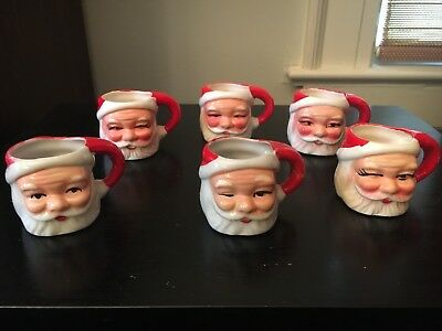Vintage Ceramic Miniature Santa Mugs X 6 Made In Japan '50's