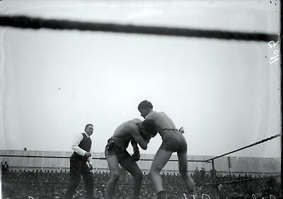 1900s Ad Wolgast v Willie Ritchie Boxing Original Glass Plate Negative by Dana