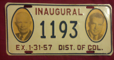 1957 District Of Columbia 1193 Inaugural License Plate