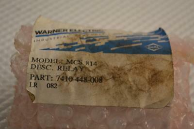 One New Warner Electric Mcs 814  Relay 7410-448-008.