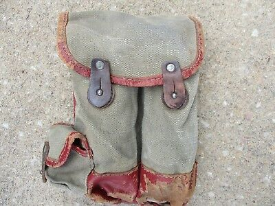 Iraqi Army Four Pocket Ammunition Pouch, Green Canvas with Red Leather Trim