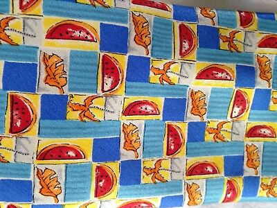 Vintage Tie Courreges Water Melon Slices blue & yellow  40g 100% silk Made Italy
