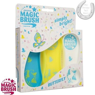 The Original Magic Brush – Set Of 3 – BUTTERFLY – Grooming Bathing Rug – XMAS